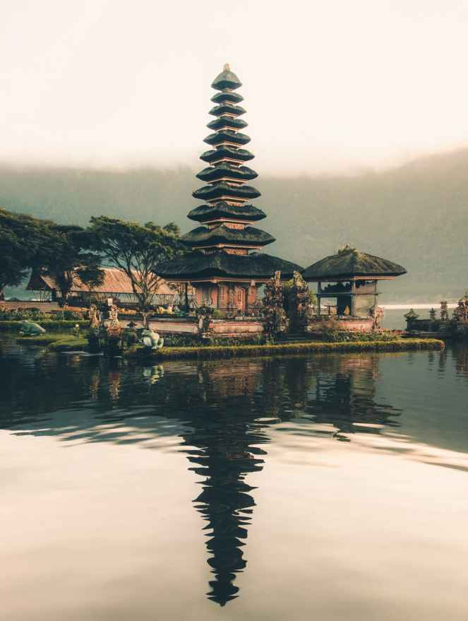 pagoda beside body of water